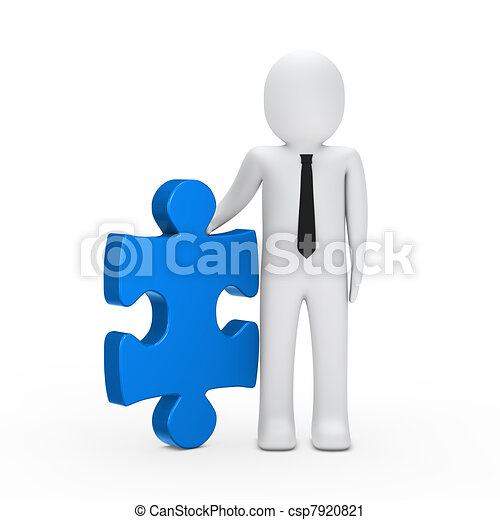 business man hold a puzzle blue - csp7920821
