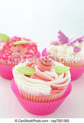 vainilla, Cupcakes, vario, decoraciones - csp7921362
