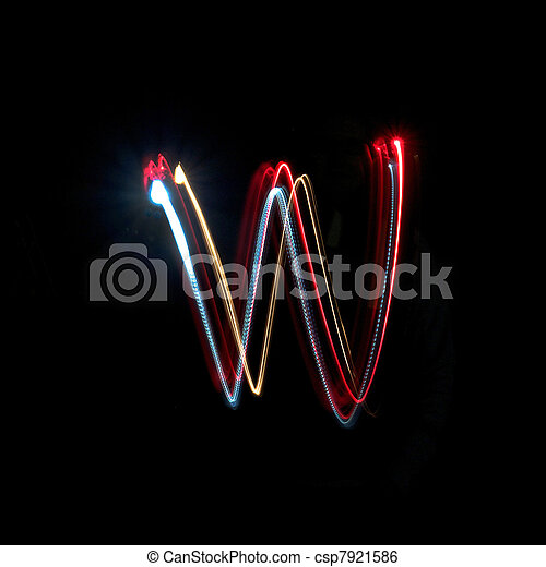 Letter W made from brightly coloured neon lights - csp7921586