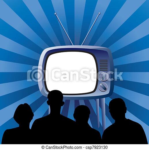 vector family watching retro tv set - csp7923130