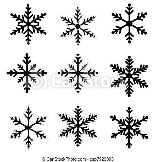 Vecteurs de silhouettes flocon de neige flocon de neige - Dessin flocon de neige facile ...