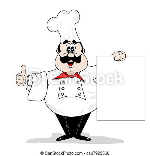 , Chef, cocinero, blanco, receta, menú, tabla, caricatura, Chef ...