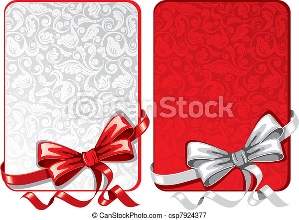 Set of bows with greeting cards - csp7924377
