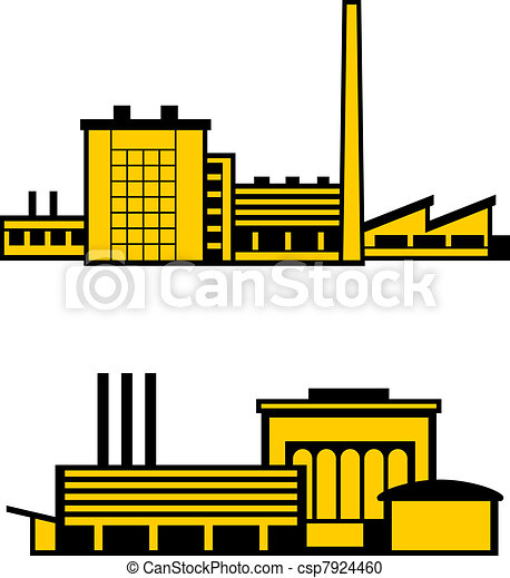 Vector Clipart of Factories - Two factories isolated on white ...