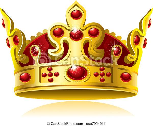 Clipart vettoriali di gemme corona oro rosso oro - Clipart couronne ...