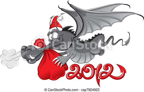 new year 2012 : Cheerful Dragon with a large christmas bag - csp7924923