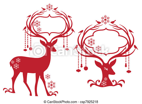 christmas frame with reindeer - csp7925218