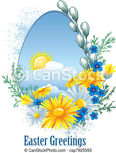 Easter banner with spring flowers - csp7925593
