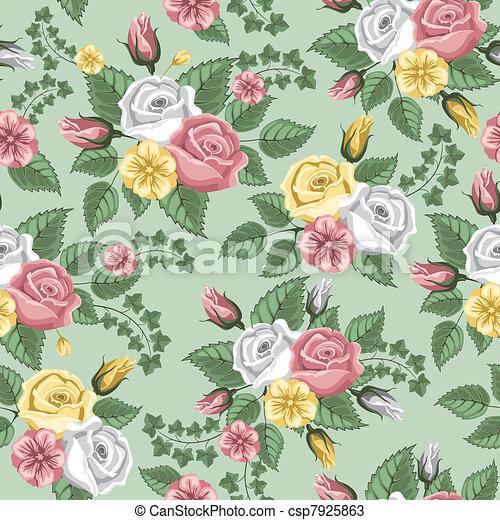 Retro flower seamless pattern - roses - csp7925863