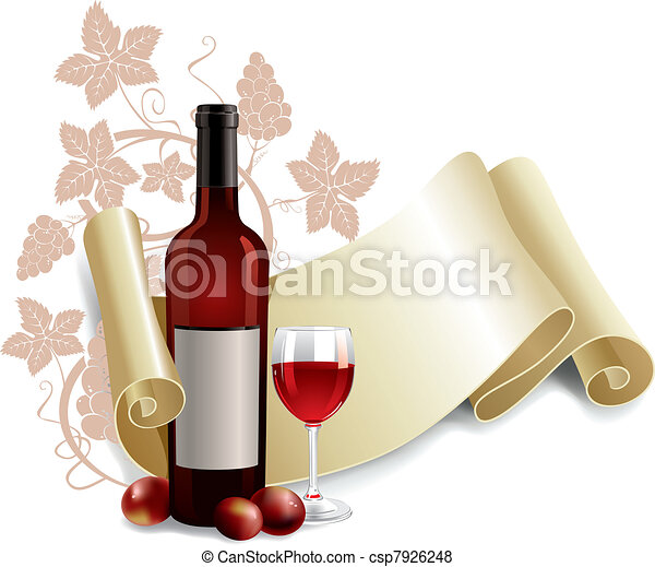 Bottle and goblet of wine - csp7926248
