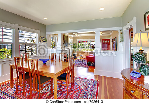 Dining room with red and green luxury cozy. - csp7926413