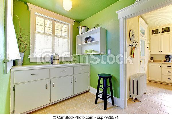 Stock fotografie van groene keuken tuin kamer interieur buffer het csp7926571 zoek - Groene en witte keuken ...
