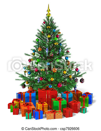 Decorated Christmas tree with heap of color gift boxes - csp7926606