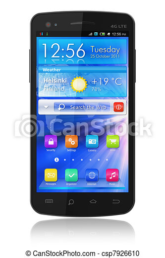Black glossy touchscreen smartphone - csp7926610