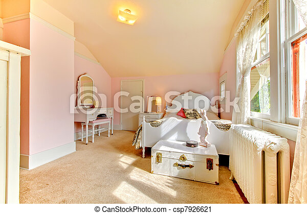 Pink bedroom with white bed and nightstand - csp7926621