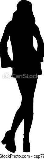 Vector - Silhouette fashion girls - csp7926946