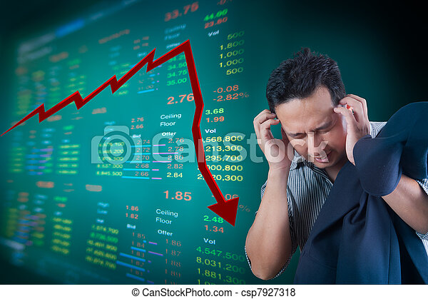 Business man stress about falling stock market - csp7927318