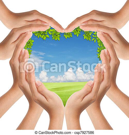 corazón, naturaleza, marca, cubierta, forma, Manos - csp7927586