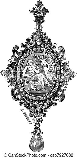 The pendant by Francois-Desire Froment vintage engraving - csp7927682
