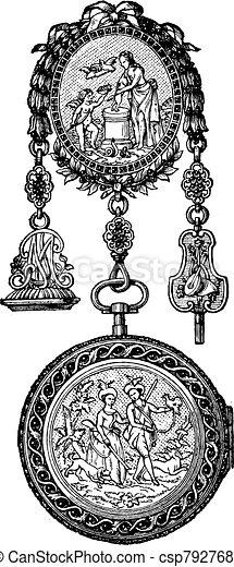 Chatelaine watch vintage engraving - csp7927686