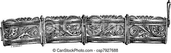 Filigree bracelet vintage engraving - csp7927688