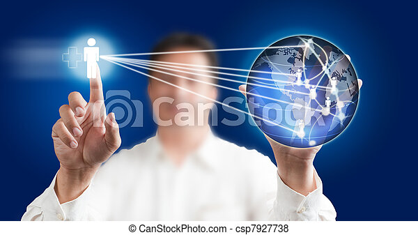 Man pressing modern touch screen  with a blue technology background - csp7927738