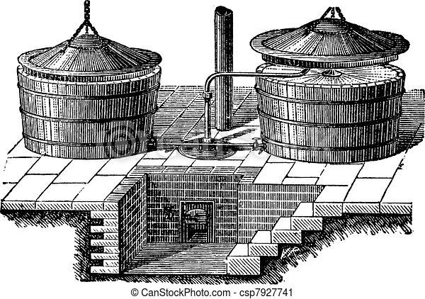Old Washing machine with steam pressure vintage engraving - csp7927741