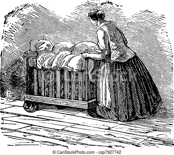 Woman transporting clothes on tricycle vintage engraving - csp7927742