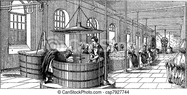 The laundry room of  Lariboisiere Hospital (Paris)  vintage engraving - csp7927744