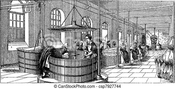 The laundry room of  Lariboisiere Hospital (Paris)  vintage engraving - csp7927744