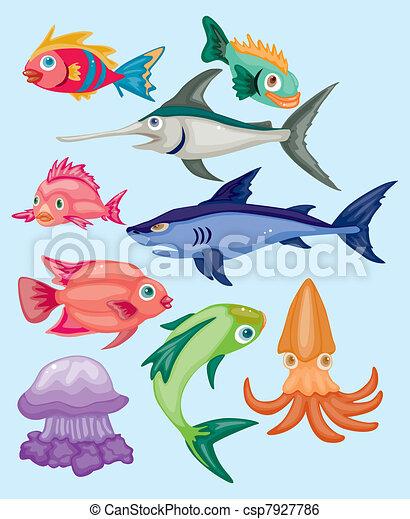 cartoon aquatic animal set - csp7927786