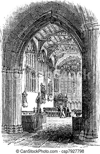 The tomb of William Shakespeare in Church of the Holy Trinity Stratford-upon-Avon Warwickshire England vintage engraving - csp7927798