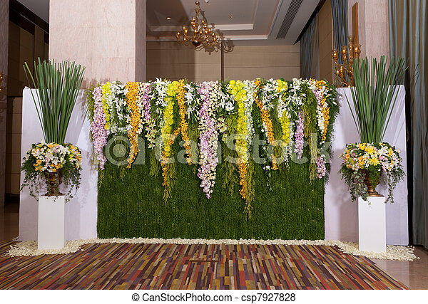 Wedding Ceremony Flowers on Pictures Of Flowers Backdrop Decorate For Wedding Ceremony Csp7927828