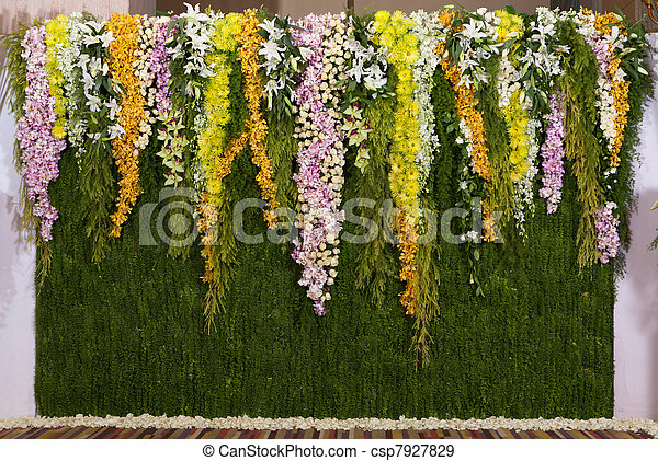 Wedding Ceremony Flowers on Stock Photo   Flowers Backdrop Decorate For Wedding Ceremony   Stock