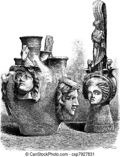 Museum of Louvre. - Vases has reliefs of southern Italy. - Drawing Sellier, vintage engraving. - csp7927831