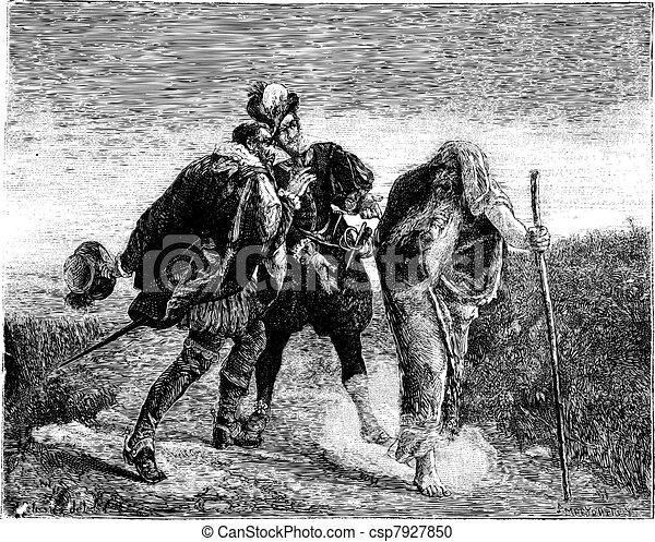 The Wandering Jew, painting by Gaston Melingue. - Drawing Pelissier, vintage engraving. - csp7927850