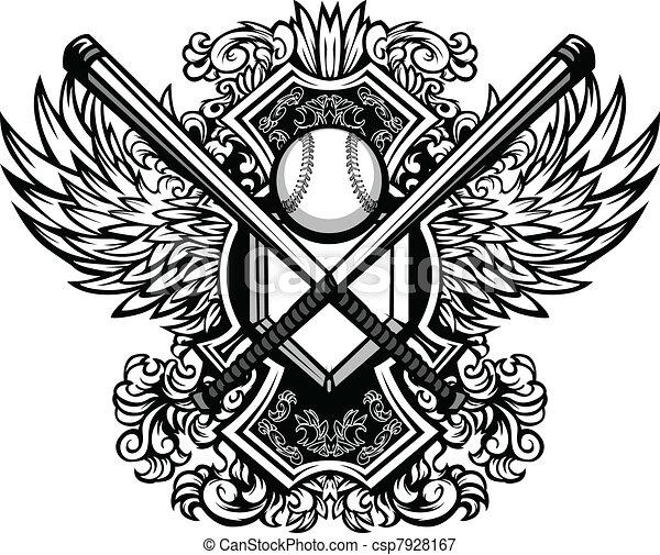 Baseball Softball Bats Ornate Graph - csp7928167