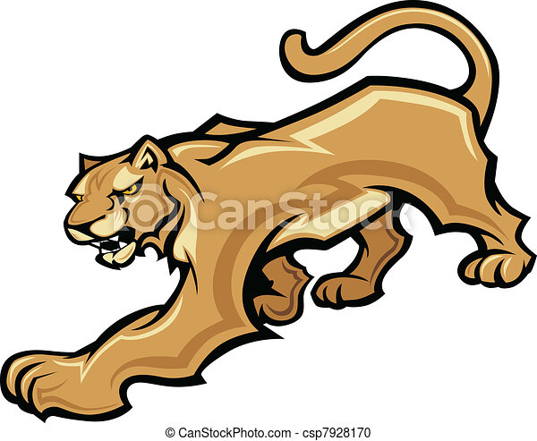 Cougar Mascot Body Vector Graphic - csp7928170