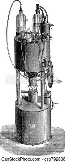 Aerotherapy portable device that can be used to breathe compressed air alone, or compressed air mixed with oxygen at will, vintage engraving. - csp7928386