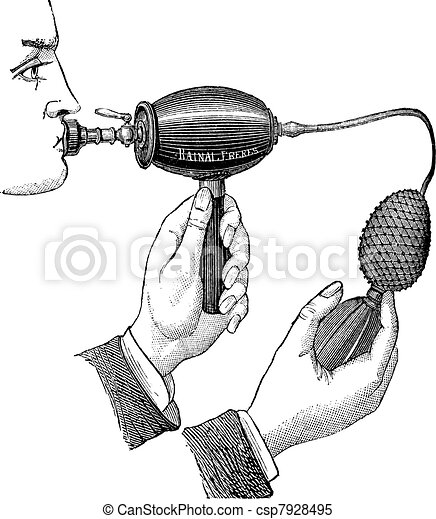 Powered inhaler, vintage engraving. - csp7928495