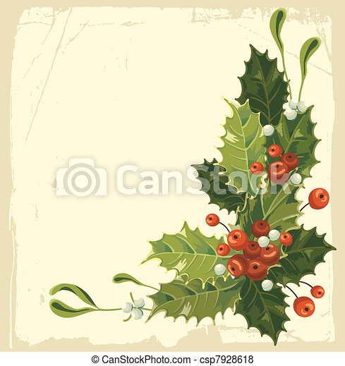Vintage Christmas card - csp7928618