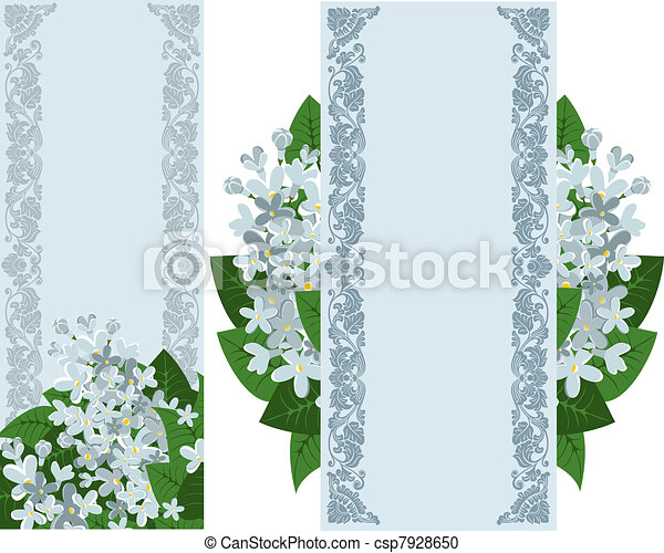 Two vertical banners with lilac - csp7928650