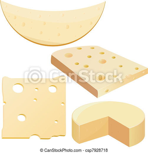 Collection of vector illustrations cheese - csp7928718