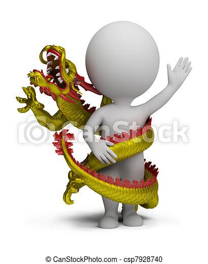 3d small people - dragon twists around - csp7928740