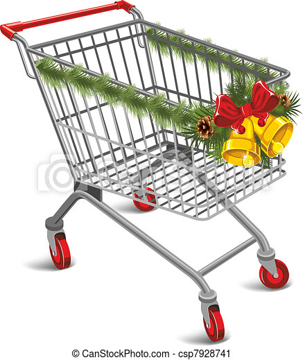 Vector Clip Art of Christmas shopping cart - Shopping cart decorated ...