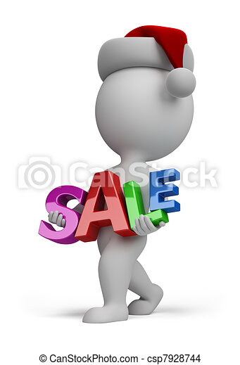3d small people - Santa carries sign SALE - csp7928744