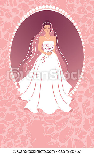 Bride with a bouquet.  - csp7928767