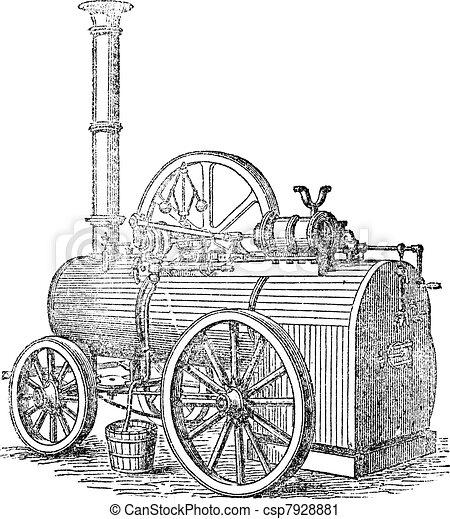 Vapor or Steam machine, vintage engraving. - csp7928881