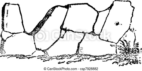 Crazy paving of the Romans contains joints in all directions, vintage engraving. - csp7928882