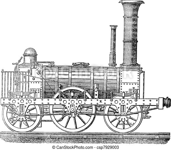 Steam locomotive, vintage engraving. - csp7929003